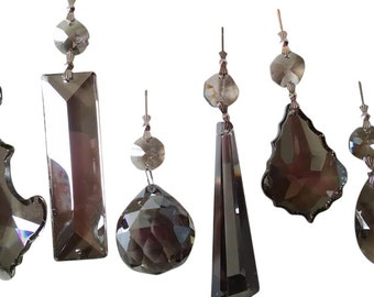 6pc Set Asfour Satin Grey Chandelier Crystal Prisms Teardrops, French Cuts, Ball, Rectangles, Pendalogues