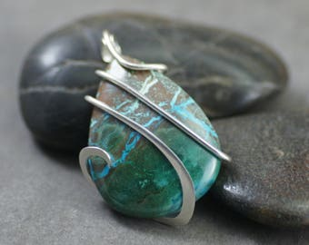 Chrysocolla Pear Shape Cold Forged Sterling Silver Pendant