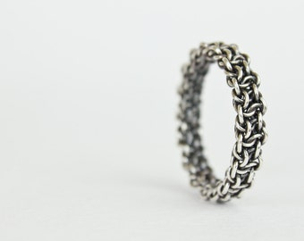 Silver Mens Ring Oxidized Argentium Sterling Unisex Band Fused Chainmaille Size 4 5 6 7 8 8.5 9 9.5 10 10.5 11 11.5 12 12.5 13 14 15 Enamor