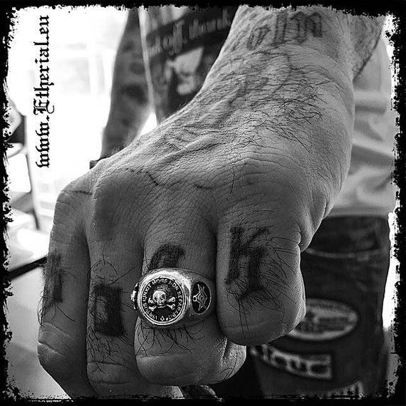 Etherial Jewelry - Rock Chic Talisman Luxury Biker Custom Handmade Artisan Pure Sterling Silver .925 Bespoke Masonic Skull Badass Ring