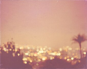 large wall art, Los Angeles night skyline photograph, Hollywood Summer peach palm tree cityscape gold bokeh lights California print