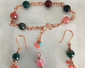 Wire wrapped Bracelet, earring and pendant set with gemstones.