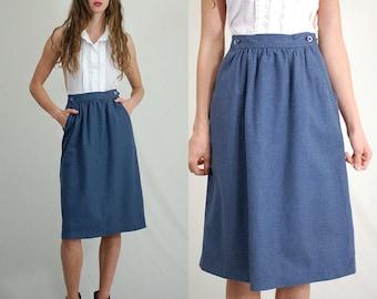 Vintage Wool Skirt / Vintage Nautical / Wool Pencil Skirt / Vintage 60s Skirt / High Waist Skirt / Nautical Wool Skirt / Size 24 Waist