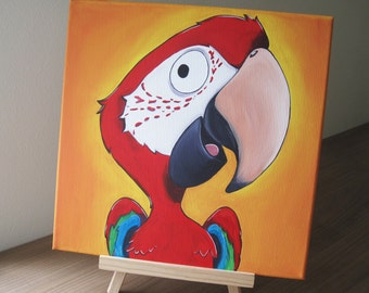 Green-winged Macaw, Red and green Macaw, Original painting on stretched canvas, Cartoon Bird, Parrot
