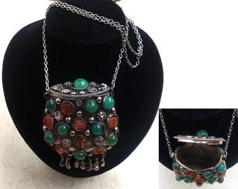 Original Ethnic locket basket shapes necklace with Natural Stone