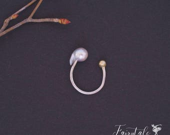 Akoya Baroque Pearl Open Ring Sterling Silver Free Size