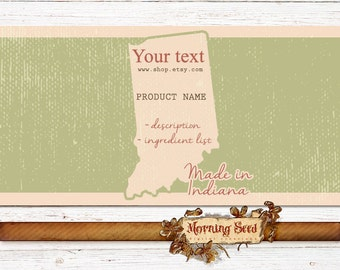 Soap packaging Rustic 2 x 11 label template - Made in Indiana - Candle wrapper download