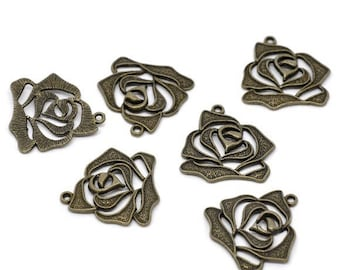 5 pendants in the shape of rose bronze 27 * 27 mm