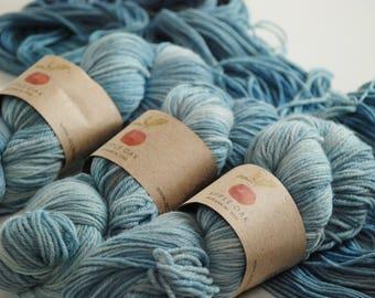 APPLEOAK Plant Dyed MILO ~ OCEAN Sky ~ Indigo dyed  ~ Sport weight Merino wool yarn