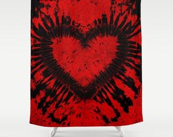 Fabric Shower Curtain-Red Black Heart Tie Dye-Decorative Shower Curtain-71x74 inches, -Hippie Decor