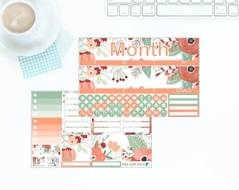 Peaches & Green Monthly Kit for Erin Condren Vertical LifePlanner - Any Month! *NEW PREMIUM PAPER!*