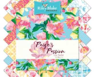"Paige's Passion Fabric collection by Riley Blake - 5"" square stackers, 42 pieces"