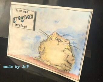 """card """"you're my favorite grumpy"""" fat cat!"""