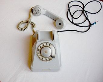 Vintage Rotary Phone / gray retro phone Soviet vintage 60s