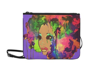 African American Watercolor Purple Background Woman Multi Color Afro Hair Wristlet Shoulder Strap Bag Purse Free Shipping Worldwide