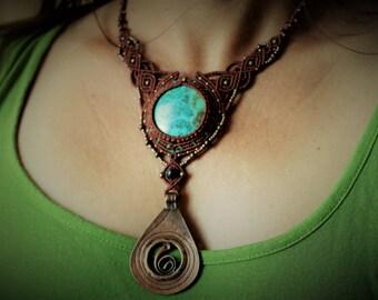 1001 Nights Chrysocolla pendant macrame necklace