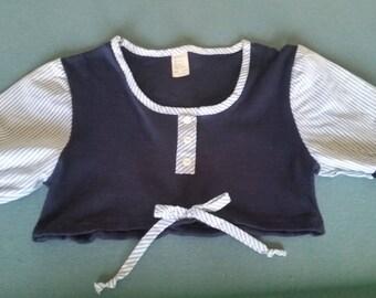 Vintage 60s Short Sleeve Cotton Midriff Top