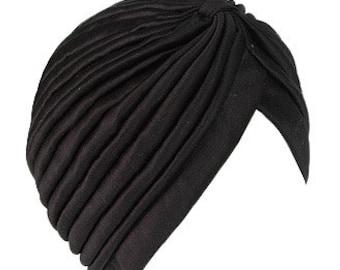 Black Turban Hat Headwrap
