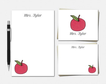 Apple Stationery - Personalized Teacher Stationery Set - An Apple For Teacher - Apple Gifts - Free US Shipping - Stationery for Teacher