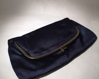 Ingber Satin Clutch -Navy with Coin Purse