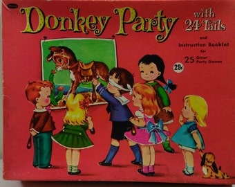 Whitman Donkey Party with 20 Tails Vintage Pin the Tail on the Donkey Children's Party Game No4408