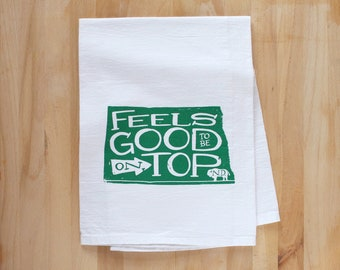 North Dakota Themed Dish Towel - Screenprinted