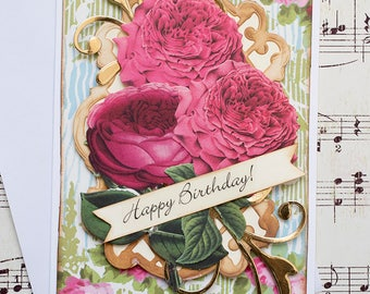 Girlfriend Birthday Card, Birthday Card for Her, Blank Card, Flower Birthday Card, Birthday Greeting Card, Handcrafted Birthday