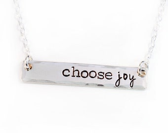 Choose Joy Bar Necklace - Layering Necklace - Sterling Silver - Silver Bar Necklace -