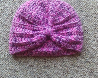 Newborn, girls, pink,sparkly,turban style,crocheted,photos,hat,infants,babies,shower,gift