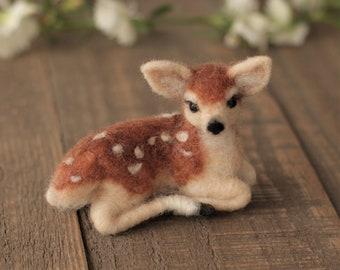 Miniature needle felt Fawn, Needle felt animals, Baby deer, Woodland animals, Forest animals, Woodland creatures