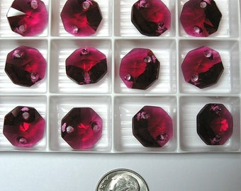 8+ Swarovski STRASS Art #8116 BORDEAUX 14mm 2-hole Lily Octagon, New from Box, Totally Out of Production
