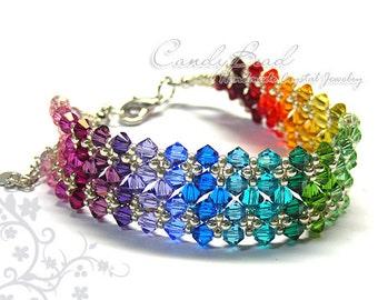 Rainbow bracelet; crystal bracelet; Swarovski bracelet; Glass bracelet;Swarovski Crystal Bracelet, Spectrum Rainbow Crystal Bracelet
