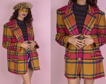 90s Plaid Blazer/ Large/ 1990s/ Jacket
