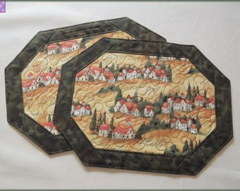 Quilted Mug Rug, Candle Mat, Snack Mat, Table Decor, Portofino Village Green 154