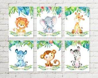 Jungle Safari Nursery Print Giraffe, Elephant, Lion, Rhino, Monkey, Zebra Animals Printable Wall Art Baby Shower Gift 5x7 8x10 Set of 6