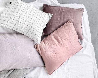 """Set of 2 / 20""""x30"""" (50x75 cm) QUEEN SIZE (Standard - EU) / Set of 2 washed linen pillowcases / in 25 colors"""