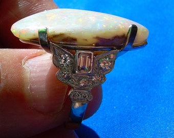 Unique Antique Art Deco style Platinum Opal Old European Diamond Custom Design by me Hand Crafted Ring