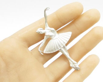 925 sterling silver - dancing ballerina drop pendant - p1077