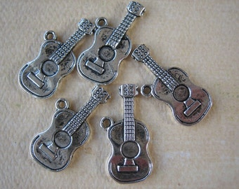 5PCS - Banjo Pendants - Antique Silver - 24x10mm - Findings by ZARDENIA