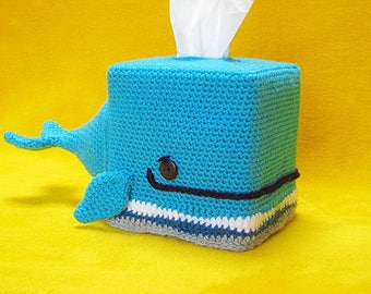 Whale tissue box cover cozy animal amigurumi crochet pattern pdf
