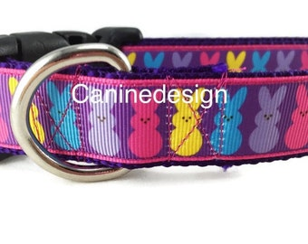 Easter Dog Collar, Purple Bunny, 1 inch wide, adjustable, quick release, medium, 13-19 inches