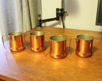 Set of 4 Vintage Coppercraft Guild Copper Mugs with Brass Handle