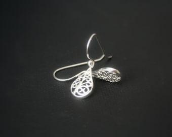 Sterling Silver earrings - filigree teardrop - lightweight earrings - french earwire or leverbacks