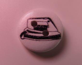 wooden button, set of 4, scrapbooking, 15mm diameter, stitching, various patterns