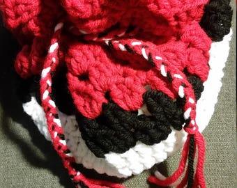 Pokemon inspired crochet drawstring bag
