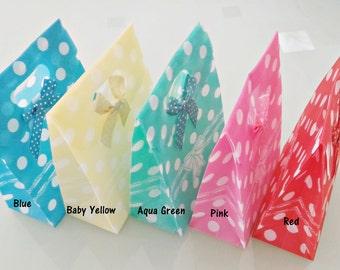Set of 5 PP Waffle Gift Flip Bags - Polka Dot Gift Bags  Polka Dot   Favor Bags   Party Bags   Baby Shower Bags   Wedding Gift Bags