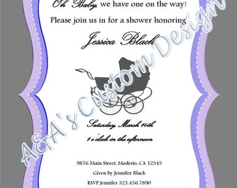 Baby Carriage Baby Shower Invitation JPEG DOWNLOAD