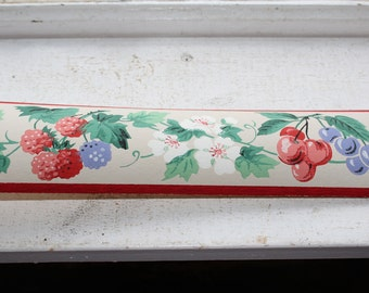 Vintage 1950s Wallpaper Border Berry Blossom Dex Brand Unused Wall Paper