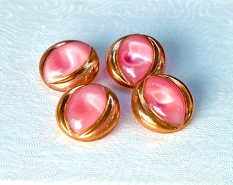 Vintage Pink Glass Moonglow Buttons with Gold Trim - Set of Four