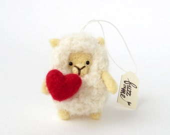 Valentine's animal ornament, felt sheep, miniature needle felted lamb with a red heart, wool natural material
